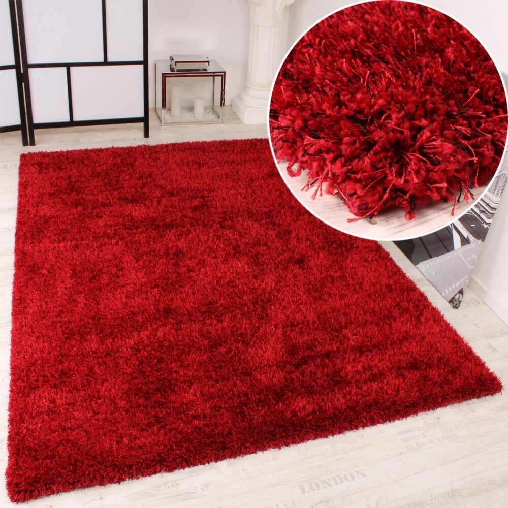 shaggy teppich hochflor langflor leicht meliert qualitativ u preiswert uni rot ebay. Black Bedroom Furniture Sets. Home Design Ideas