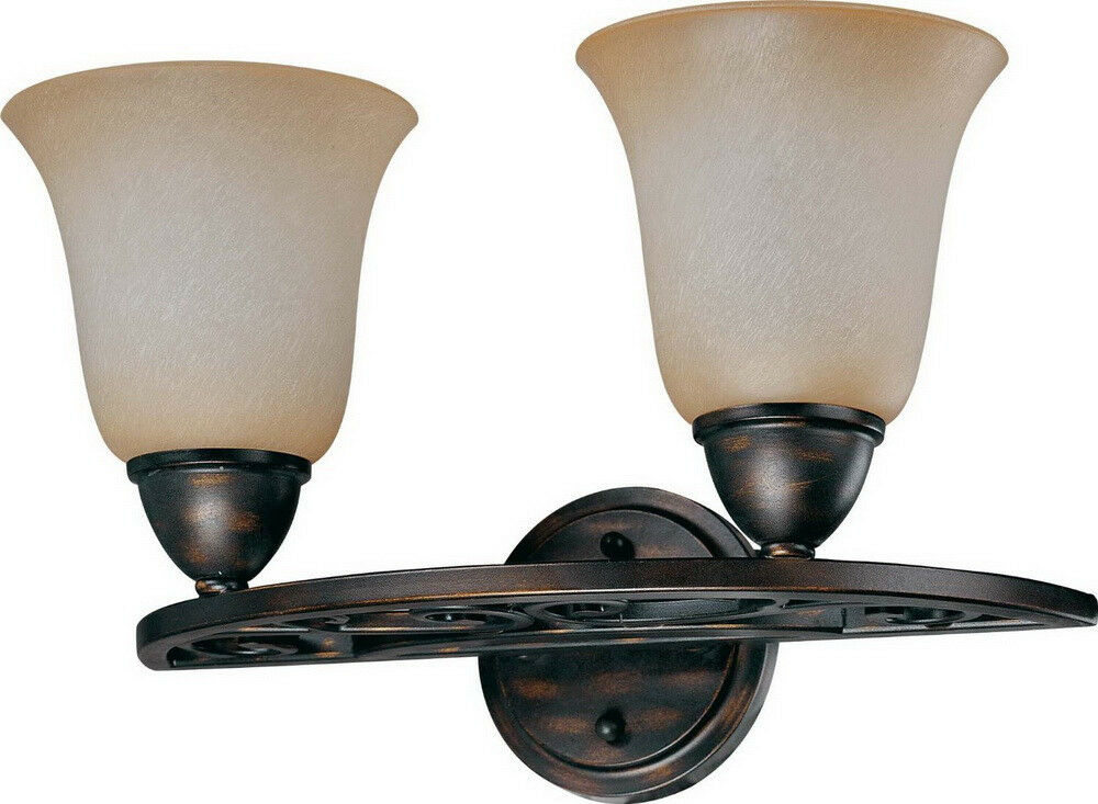 Distressed Bronze 2 Light Bath Wall Fixture With Brushed Wheat Glass Ebay