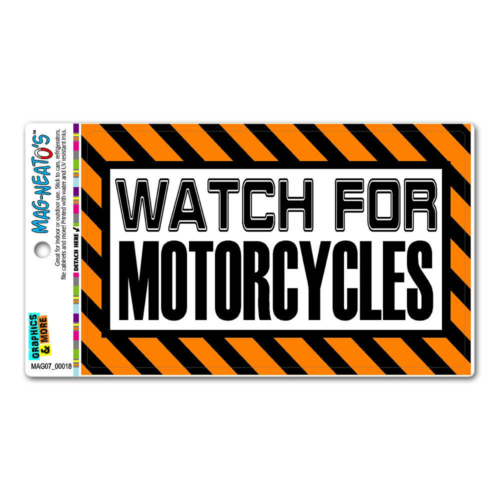 watch for motorcycles orange - caution warning