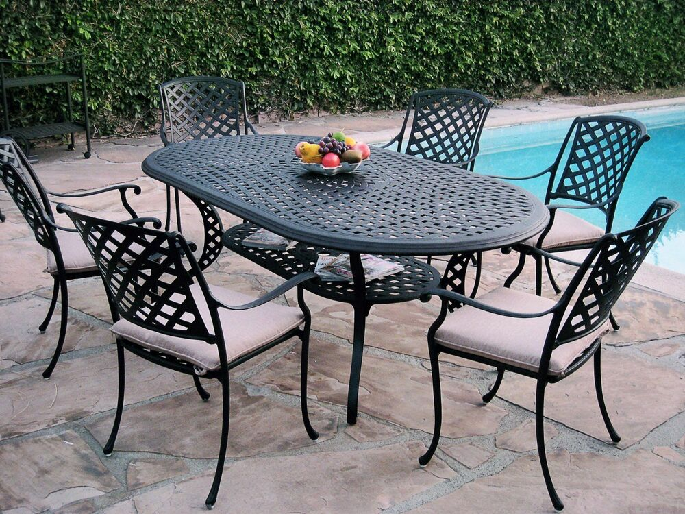 7 piece outdoor patio furniture cast aluminum dining set for Patio dining sets with bench seating
