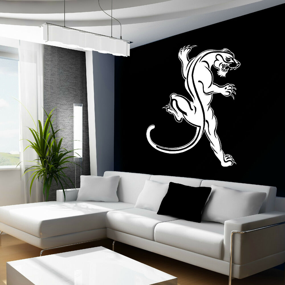 Black panther wall art sticker wild animal vinyl room for Black panther mural