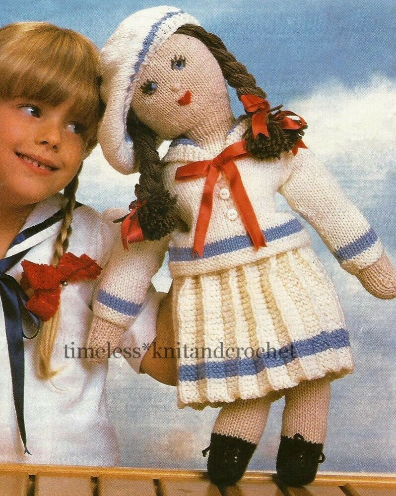 VINTAGE KNITTING PATTERN FOR OLD FASHIONED RAG DOLL & CLOTHES / SAILOR SU...