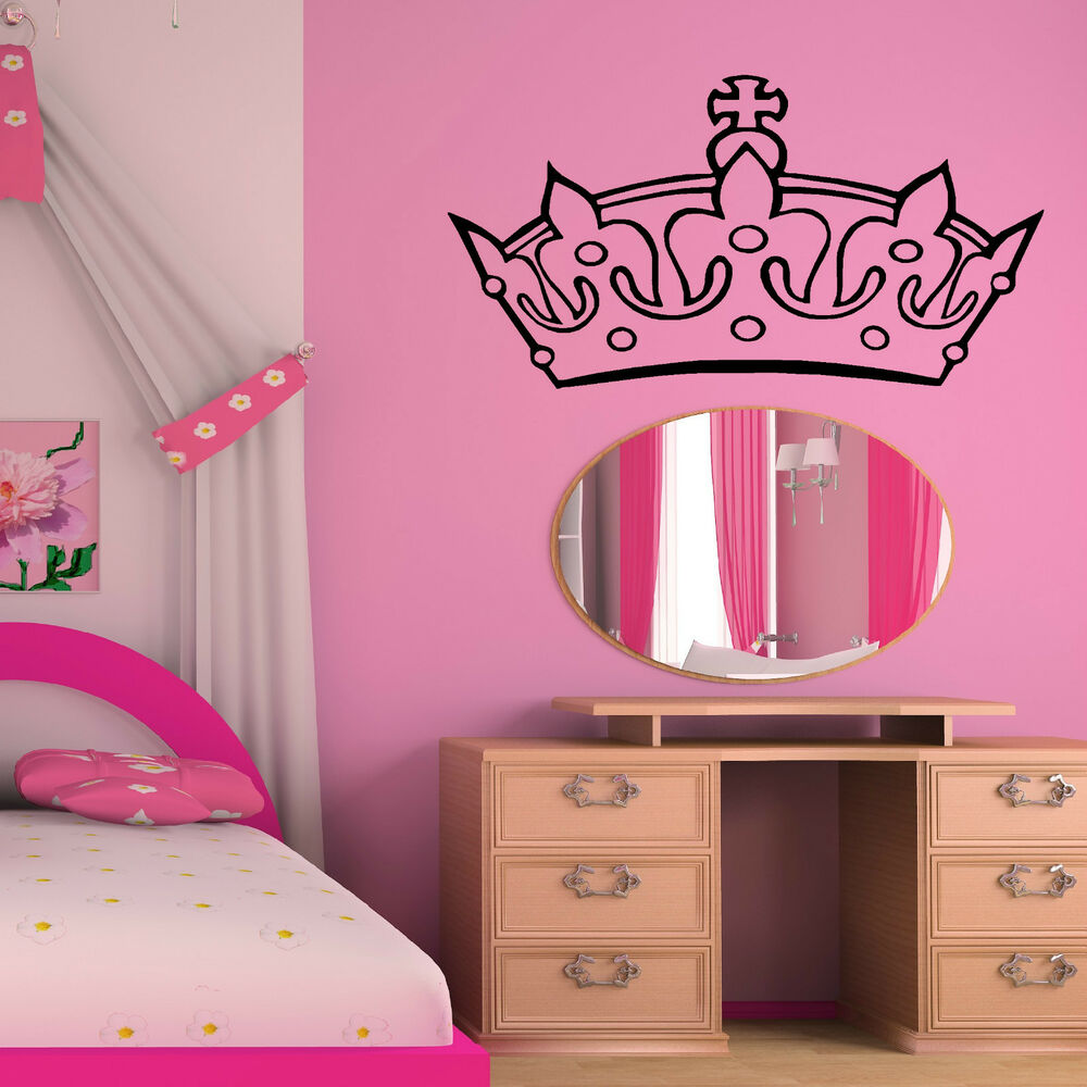 princess crown tiara wall art sticker girls bedroom princess themed room decal ebay. Black Bedroom Furniture Sets. Home Design Ideas