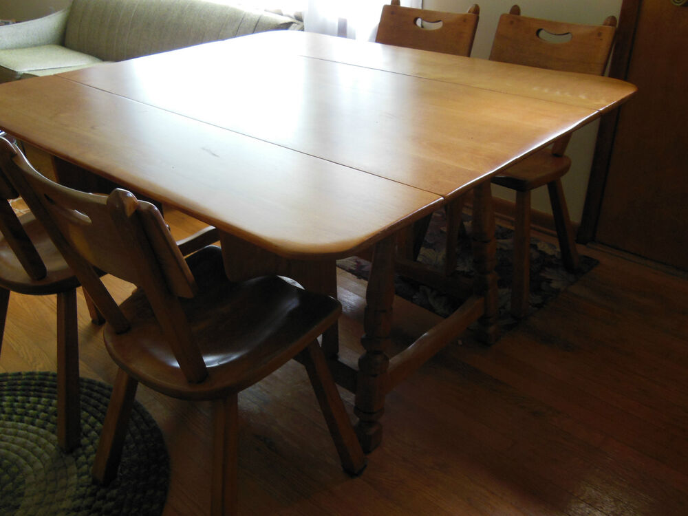 cushman colonial furniture drop leaf dining room table w 4 chairs ebay. Black Bedroom Furniture Sets. Home Design Ideas