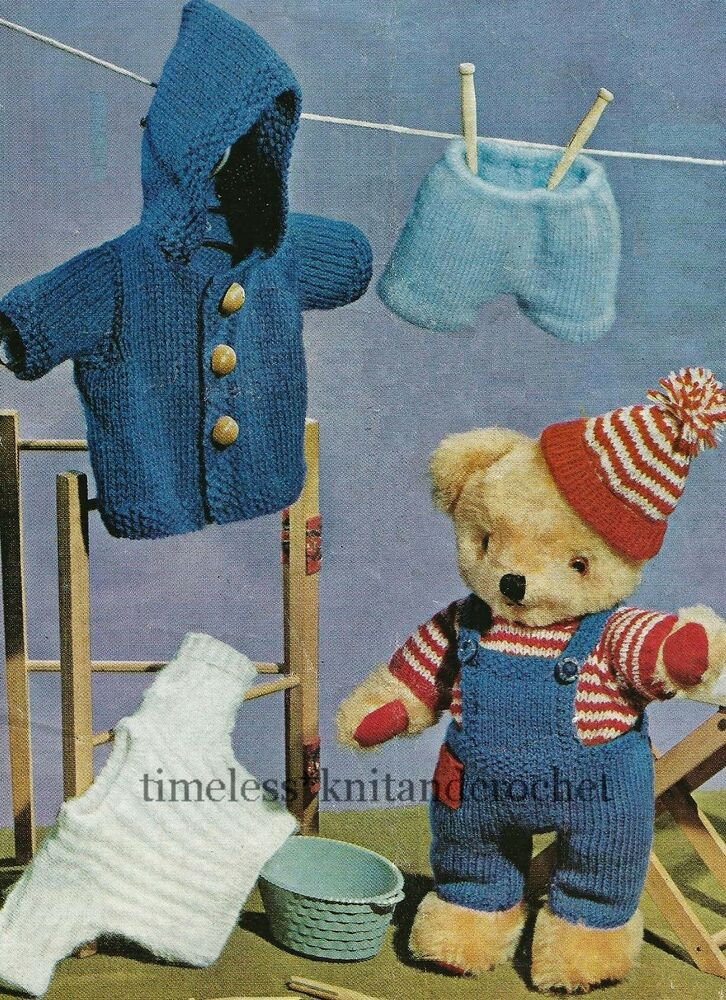 Knitting Pattern For Teddy Bear Clothes : VINTAGE KNITTING PATTERN FOR TEDDY BEAR CLOTHES - HAT COAT DUNGAREES SWEATER ...