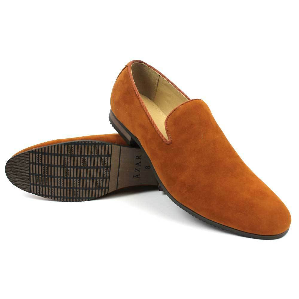 New mens dress shoes cognac brown suede slip on loafers modern round