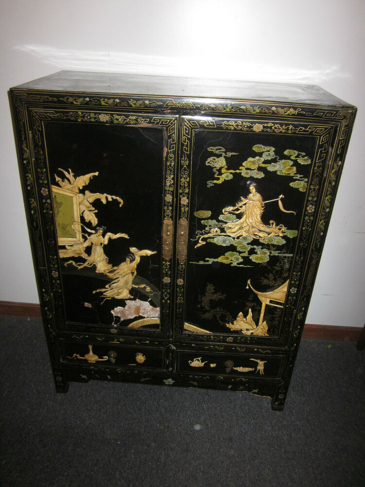 Antique chinese 1950s 39 black lacquer cabinet applied for Chinese black lacquer furniture