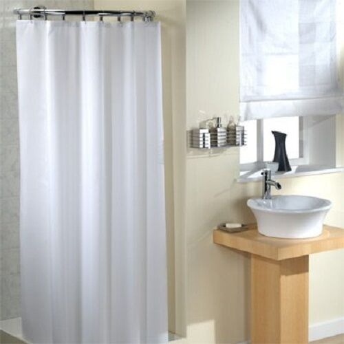 Extra Wide Long Drop Shower Curtain Plain White 100% Polyester ...
