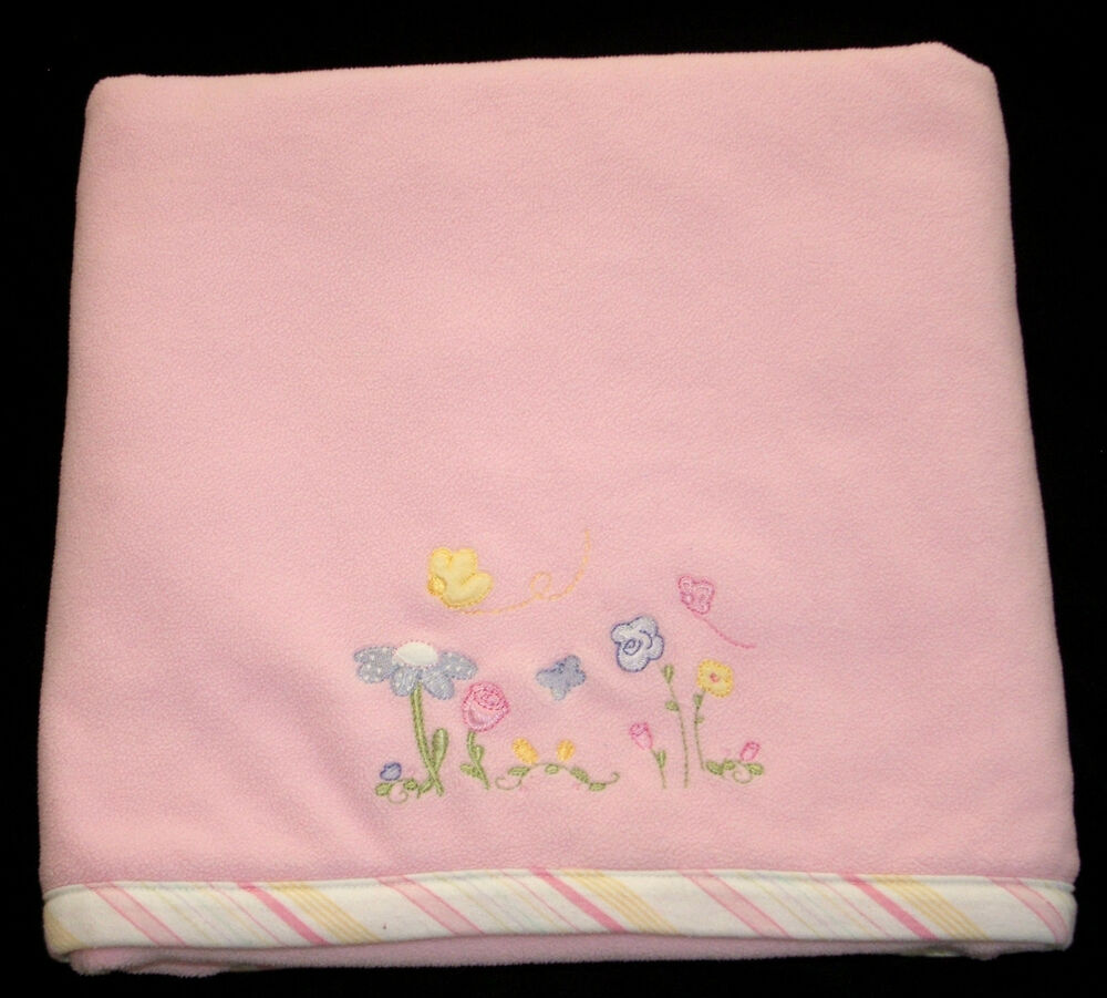 Baby Connection Pink Fleece Baby Blanket Butterfly Flowers
