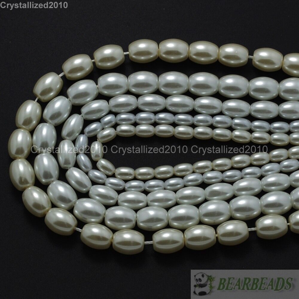 Pearl Beads: Top Quality Czech Glass Cream Pearl Oval Rice Loose Beads