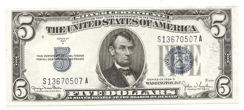 Five Dollar Silver Certificate 1934 D Series Recap You Who Came