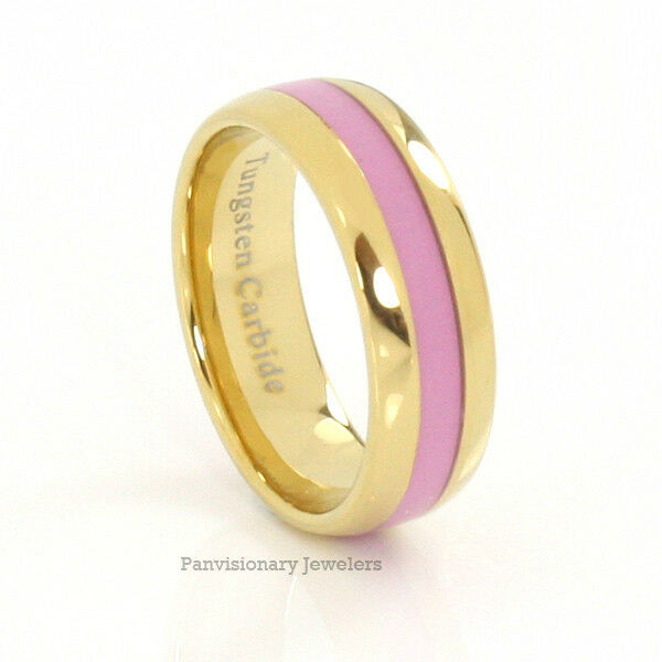 Pink And Black Tungsten Ring: 8MM Tungsten Carbide Ring Pink Inlay Gold IP Breast Cancer