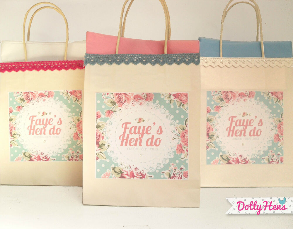 Personalised Wedding Gift Bags Uk : PERSONALISED VINTAGE FLORAL LACE HEN PARTY BIRTHDAY WEDDING PARTY GIFT ...