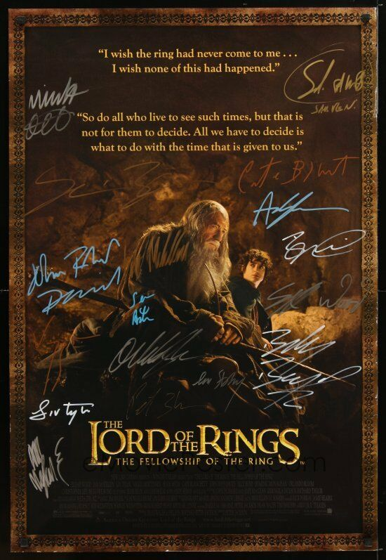 """ENTIRE CAST AUTOGRAPHED LORD OF THE RINGS """"FELLOWSHIP OF ..."""