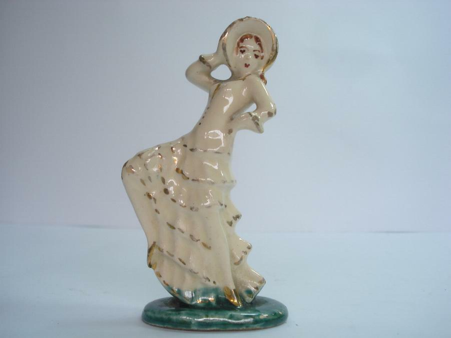 1900 art nouveau ceramic can can dancer figurine w gold ebay. Black Bedroom Furniture Sets. Home Design Ideas