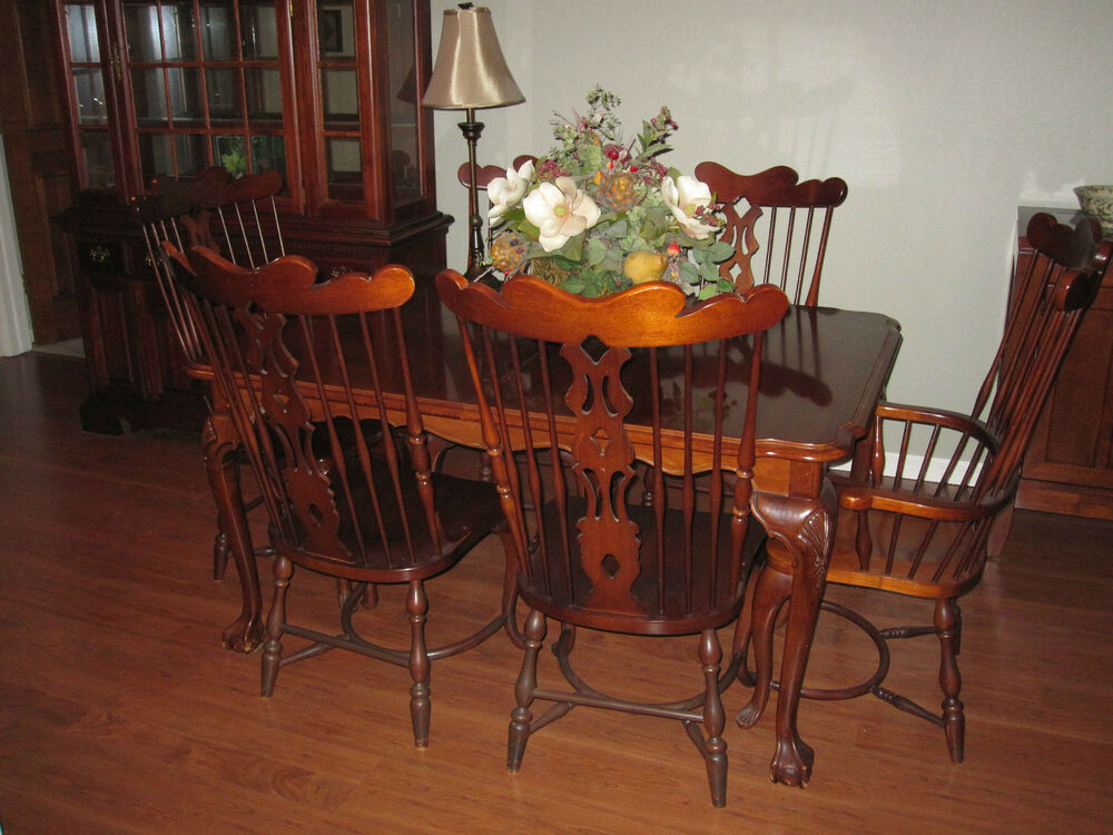 Virginia house dining room set 11 pieces real cherry wood for Cherry wood dining room set