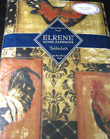 Flannel Back Vinyl Tablecloths By Elrene -Roosters- Assorted Sizes Oblg.& Round.