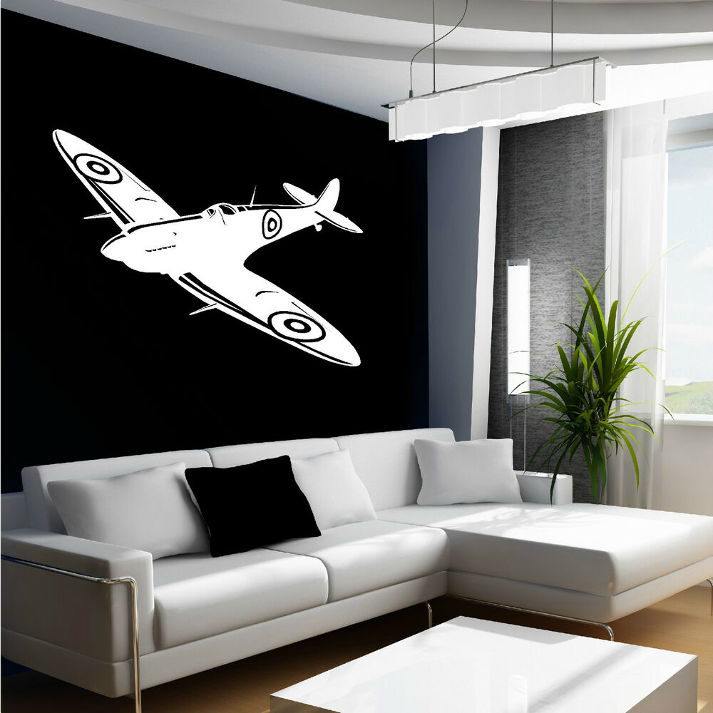 Spitfire wall art sticker british fighter ww2 aircraft for Aeroplane wall mural