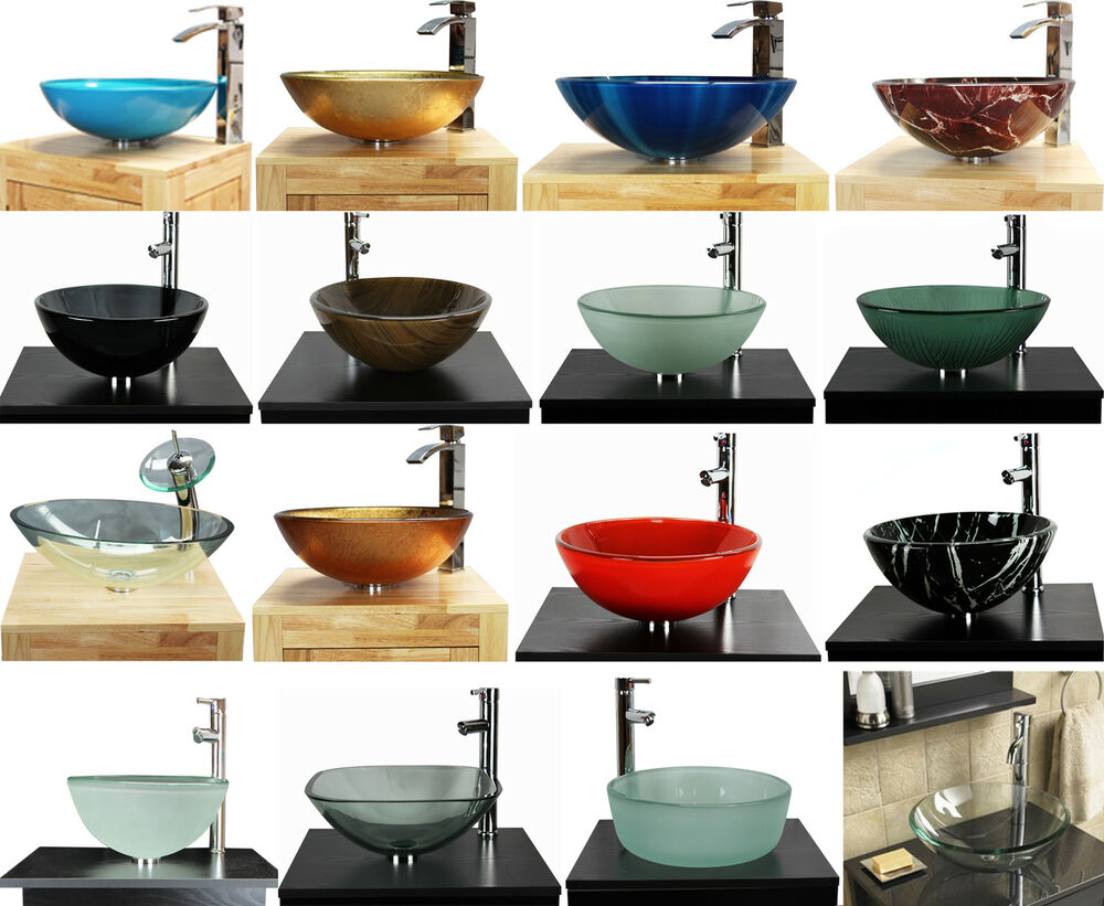Bathroom cloakroom countertop glass basin sink ebay - Glass cloakroom basin ...