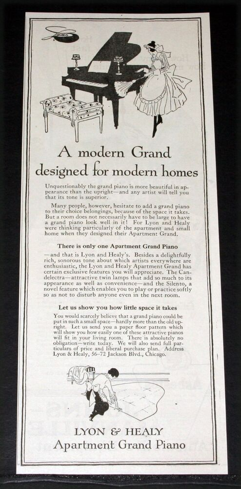 Details About 1919 Old Magazine Print Ad Lyon Healy Modern Apartment Grand Piano Art