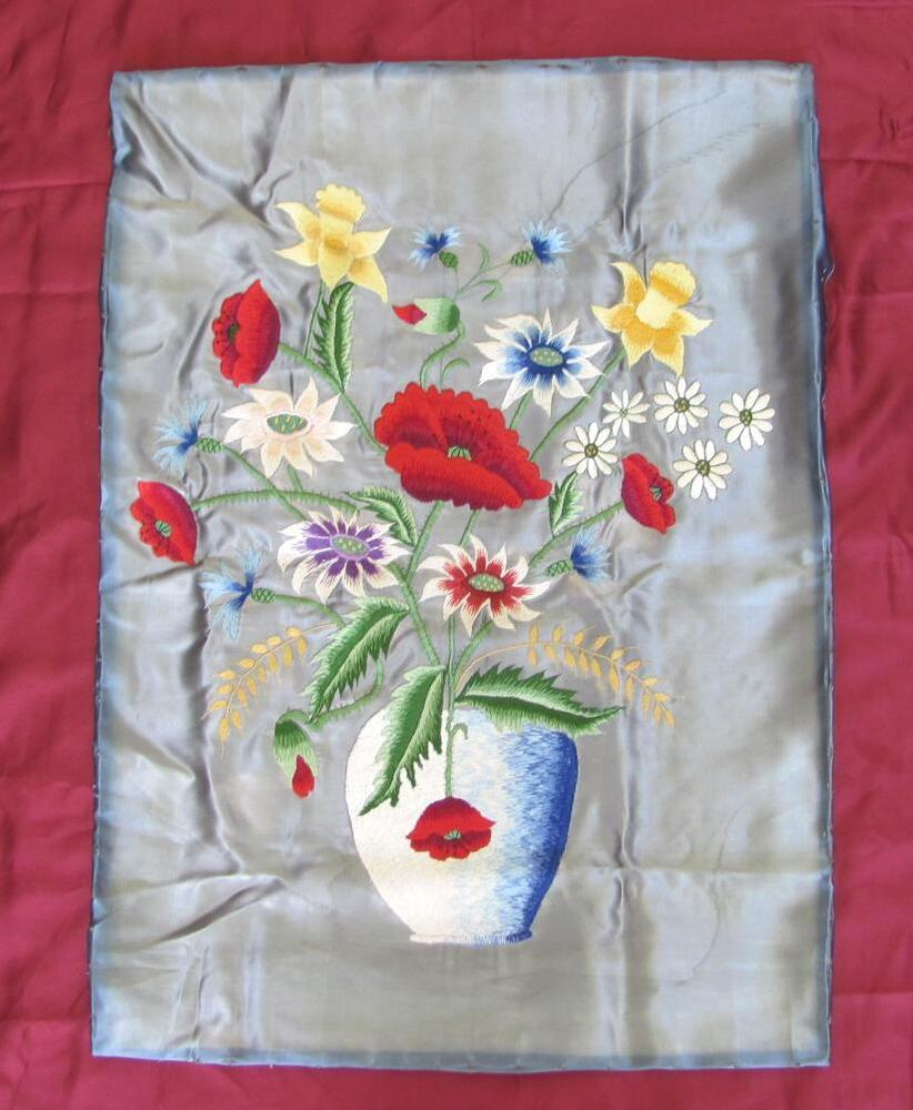 Vintage machine embroidery wall sampler flower vase ebay