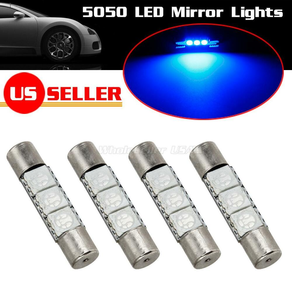 (4) Xenon Blue 3-SMD 6641 LED Bulbs For Car Sun Visor Vanity Mirror Lights eBay
