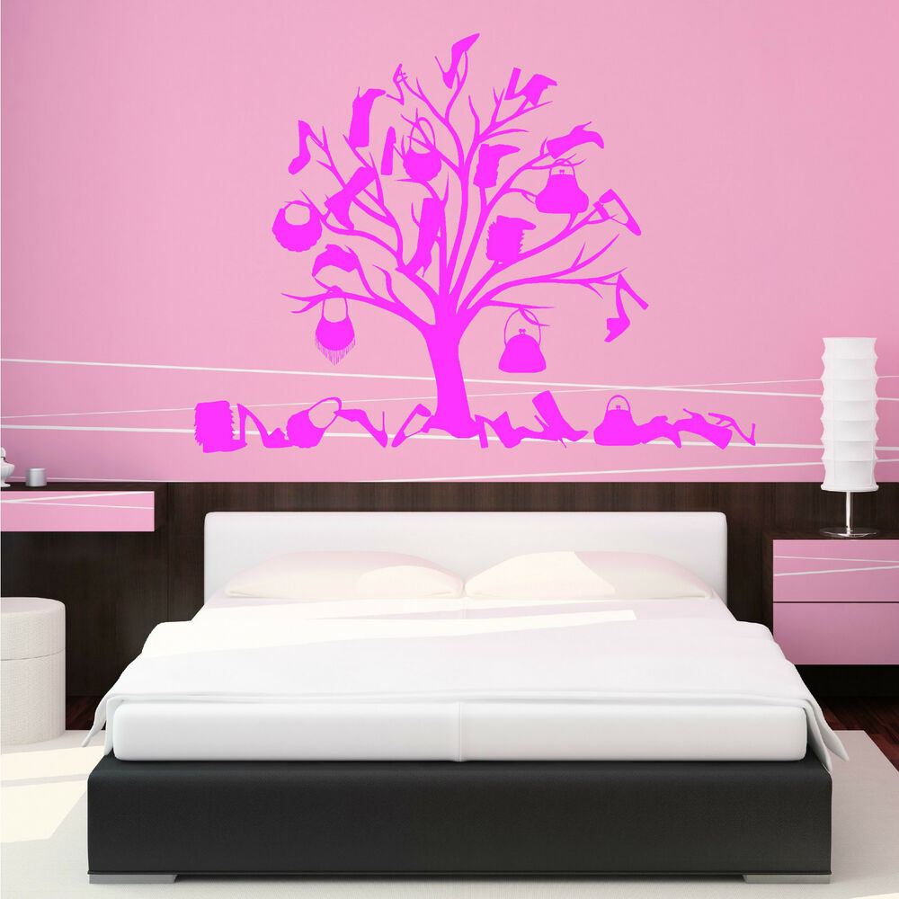 Shoe and bag tree wall art sticker vinyl room decal girls love shopping clothes ebay - Wall decor stickers online shopping ...