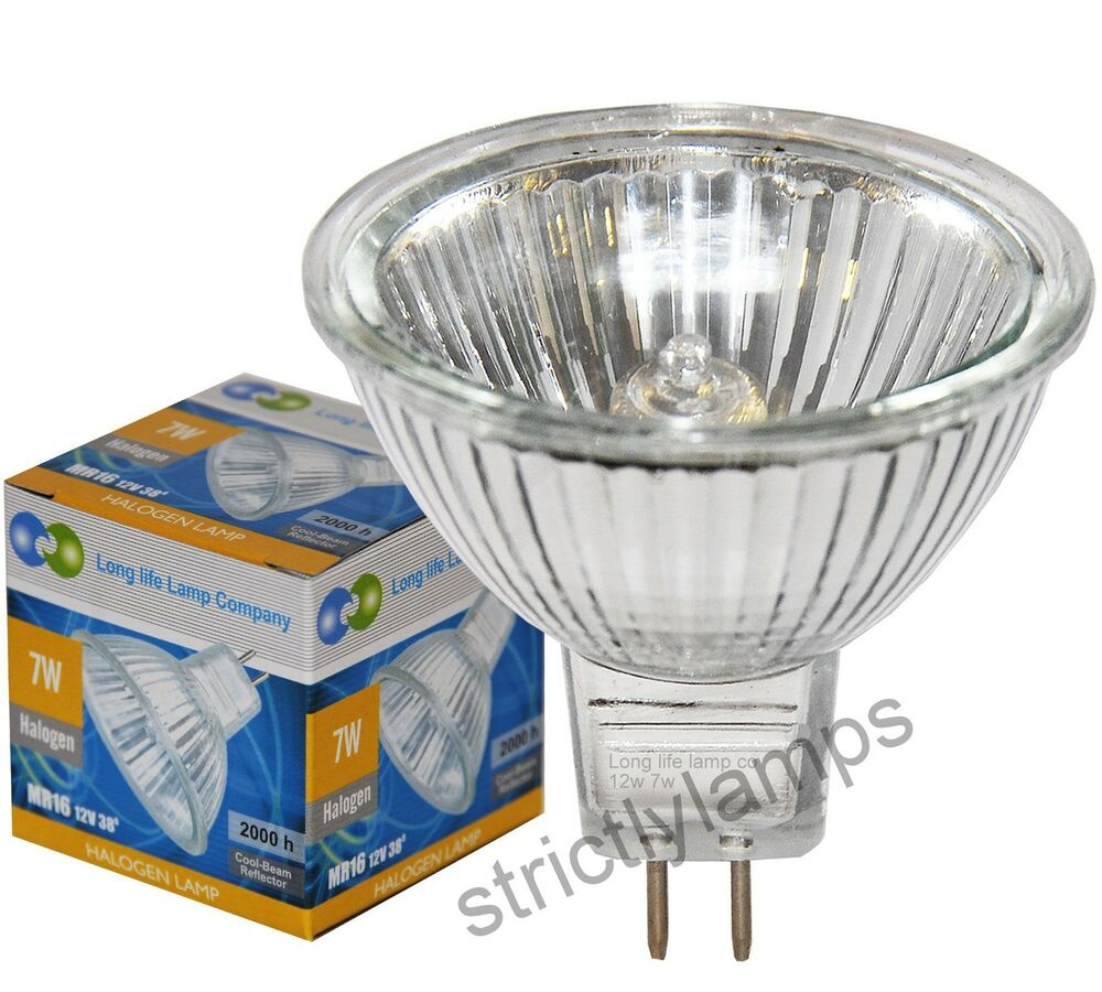 2 X Mr16 7w Halogen Light Bulbs Lamp 12v 7w Bulb Fibre