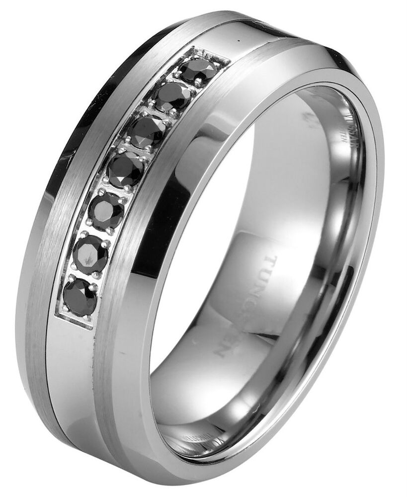 black diamond tungsten carbide mens wedding ring band 8mm classic engagement ebay - Mens Black Diamond Wedding Ring