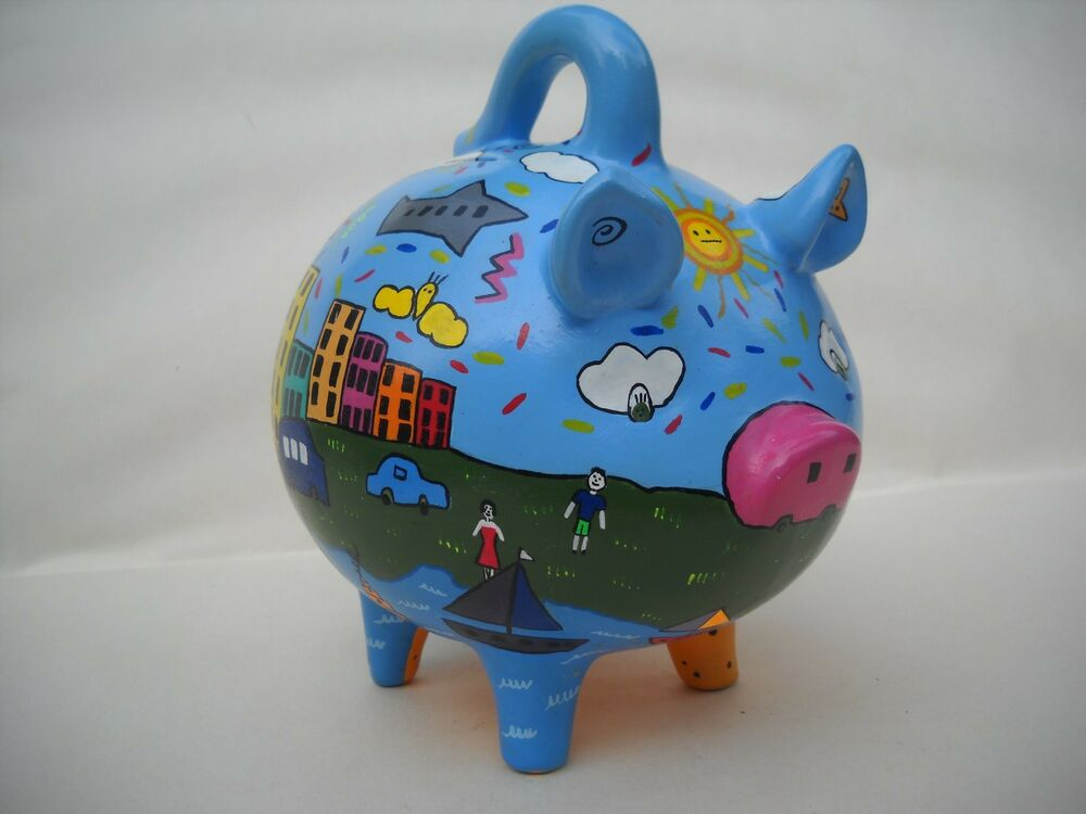 Ceramic hand painted city scape piggy bank yucatan so cute for Can ceramic be painted