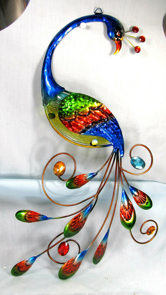 Peacock Metal And Glass Wall Hanging Art Blue Home Decor Ebay