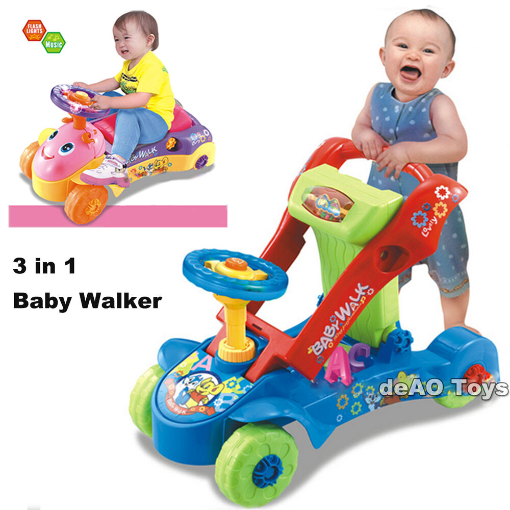 Deao Toys 2in1 Baby Walker And Push Power Ride On Car With