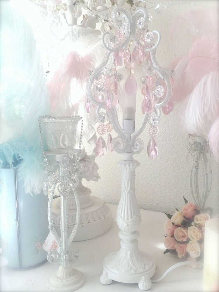 shabby french chic beaded candelabra table lamp pink. Black Bedroom Furniture Sets. Home Design Ideas