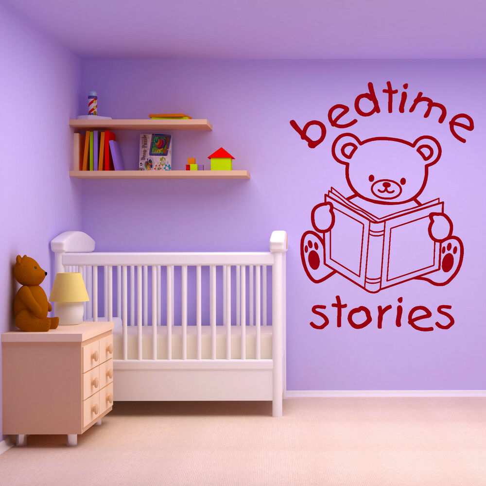 wall decals bedroom teddy bedtime stories vinyl wall sticker decal 13759