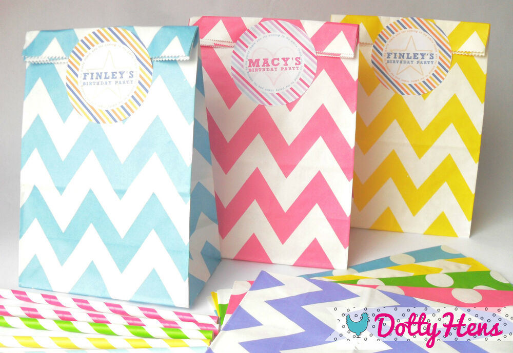 12 X Childrens Birthday Party Paper Loot Bags With