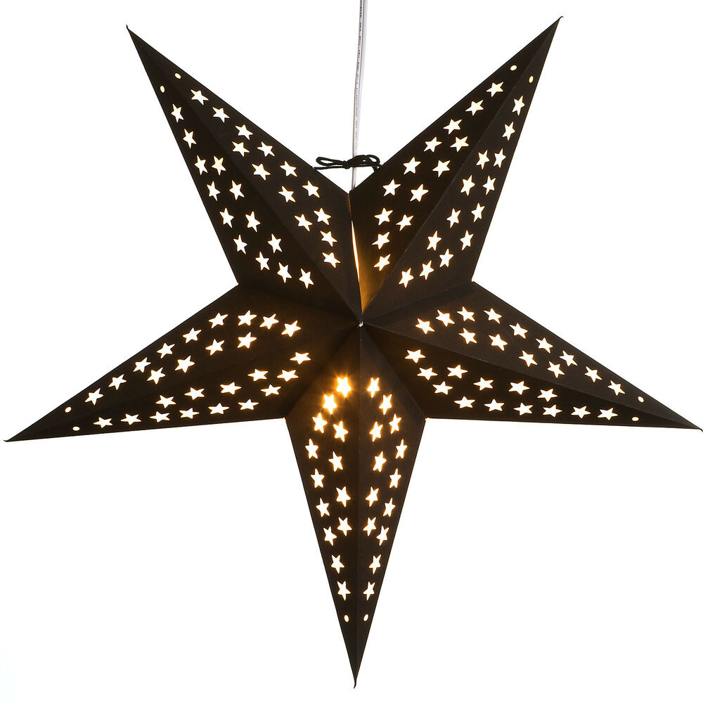 Noir paper star light lamp lantern with 12 foot cord for Paper star lamp