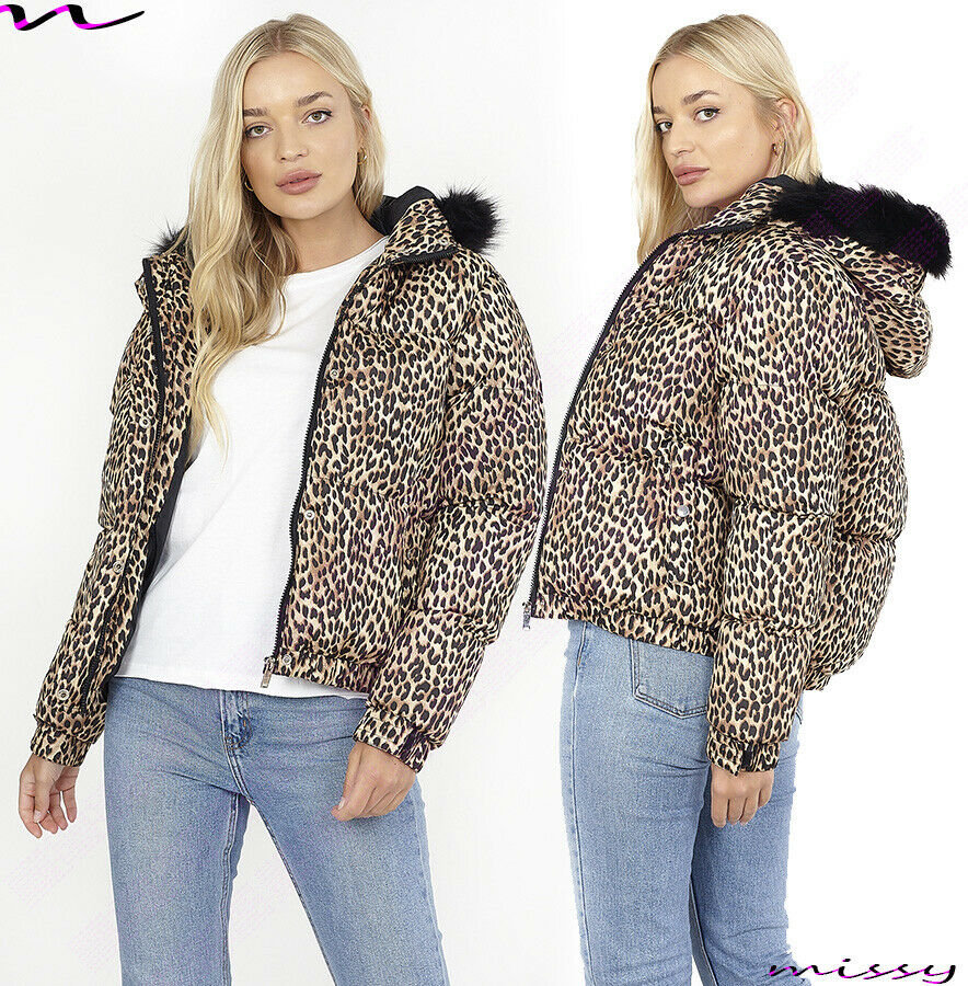 NEW WOMENS LADIES QUILTED WINTER COAT PUFFER FUR COLLAR ...