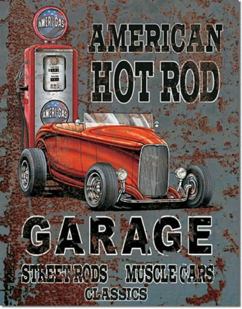Car Old Garage Signs : American hot rod garage tin sign vintage gas pump metal