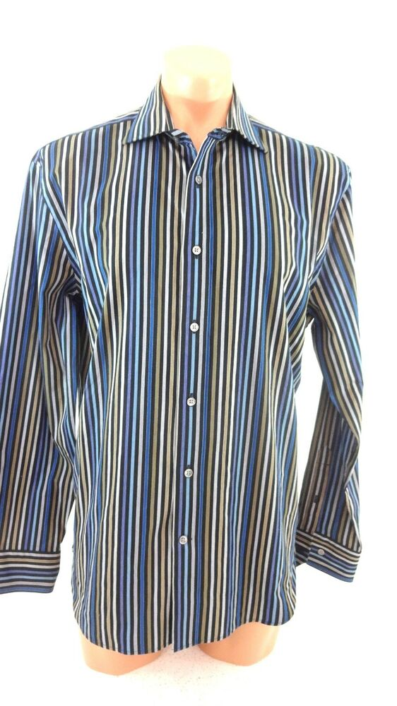Express Design Studio Mens Button Down Blue Striped Dress