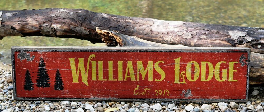Personalized Lodge Or Cabin Established Rustic Hand