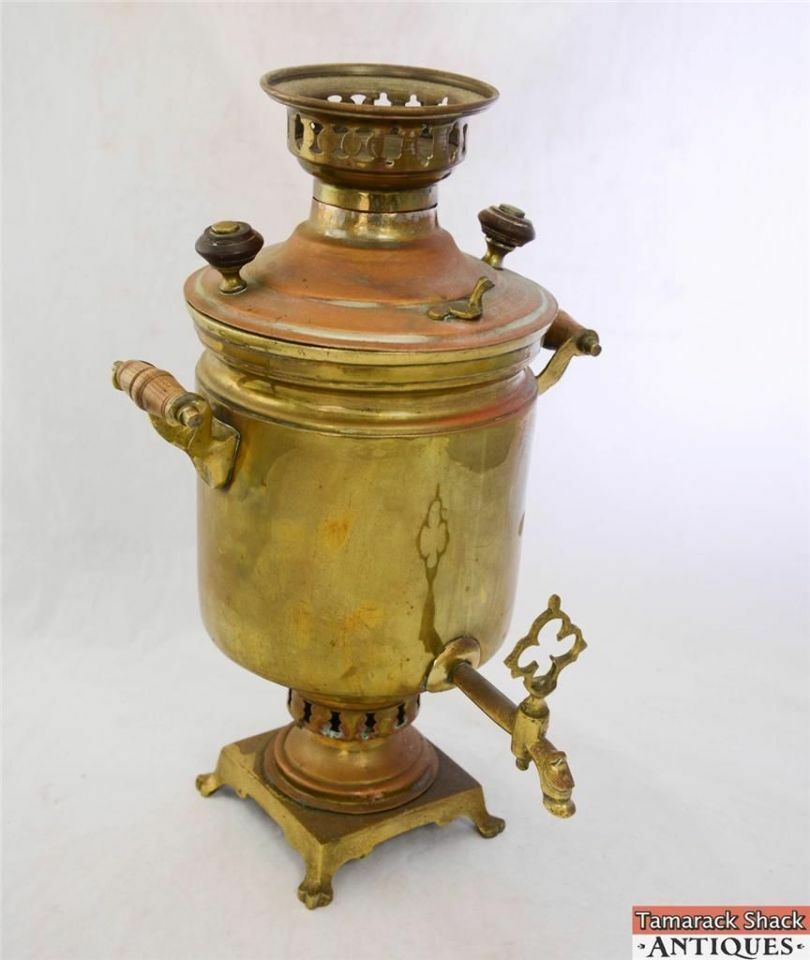 New Boiler Deals >> Antique Large Russian Brass 17 Inch Samovar Water Boiler Coffee Tea Dispenser | eBay