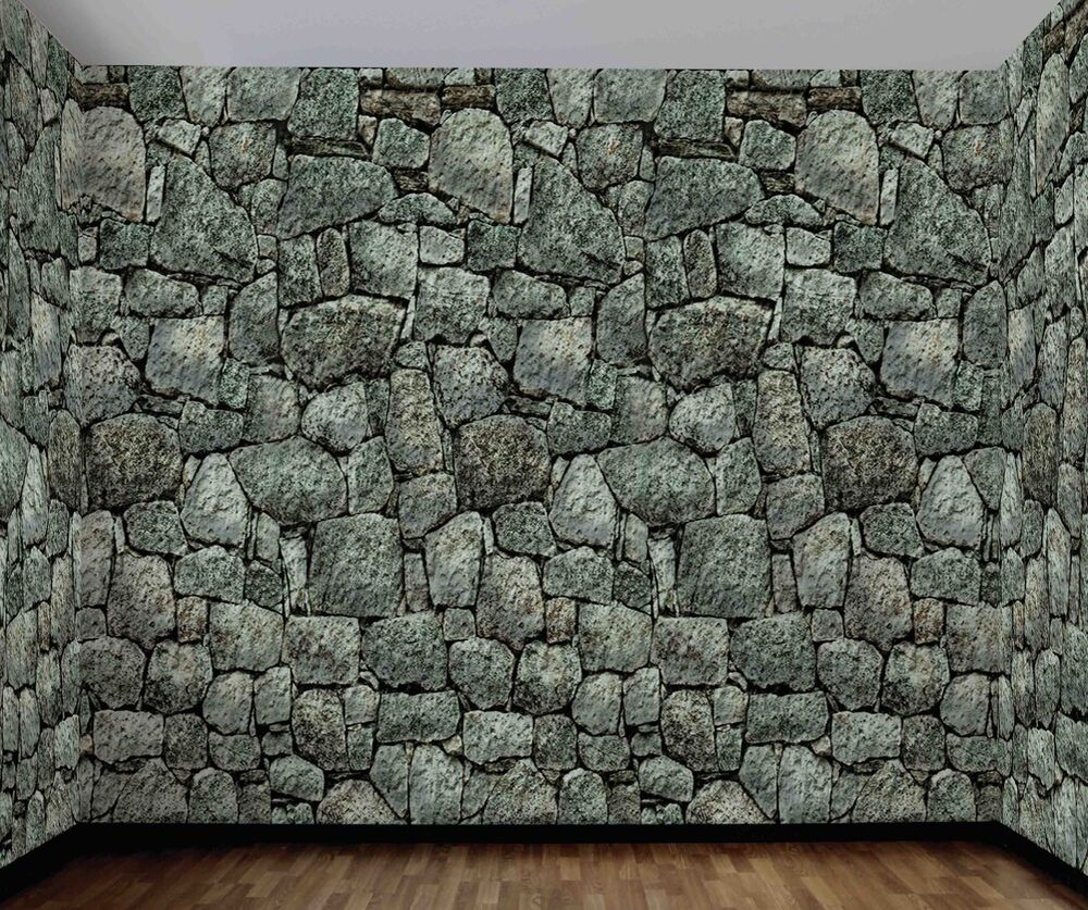 Plastic Stone Walls : Cobble stone wall backdrop background haunted decoration