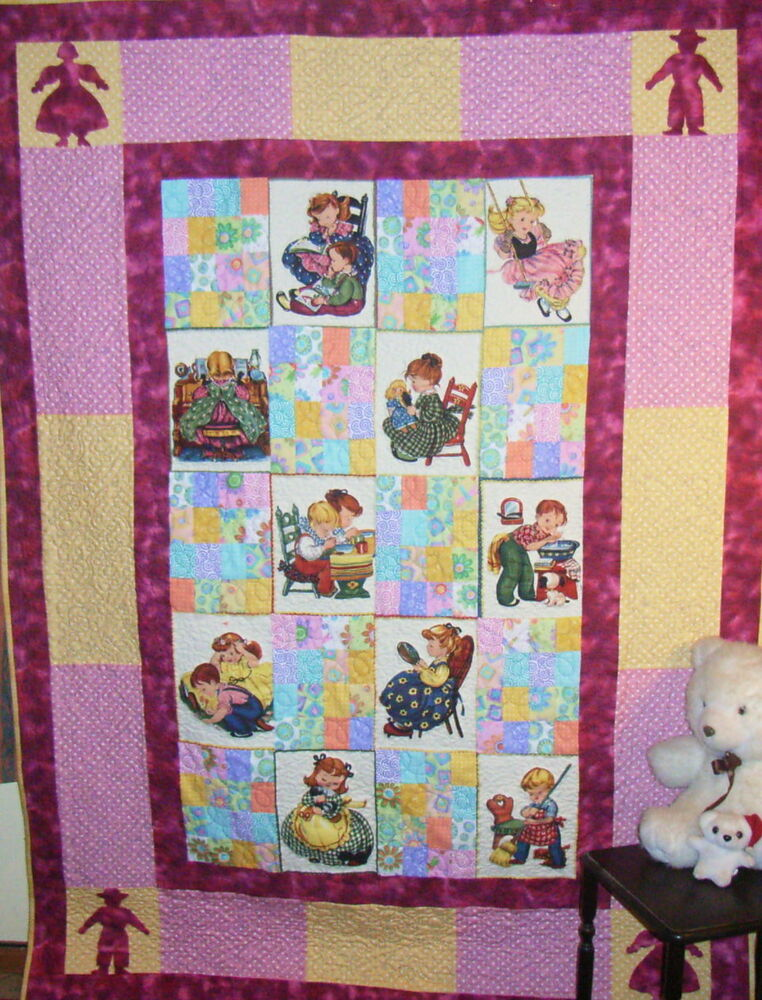 Children at play quilt kit misty mountain quilts for Childrens quilt fabric