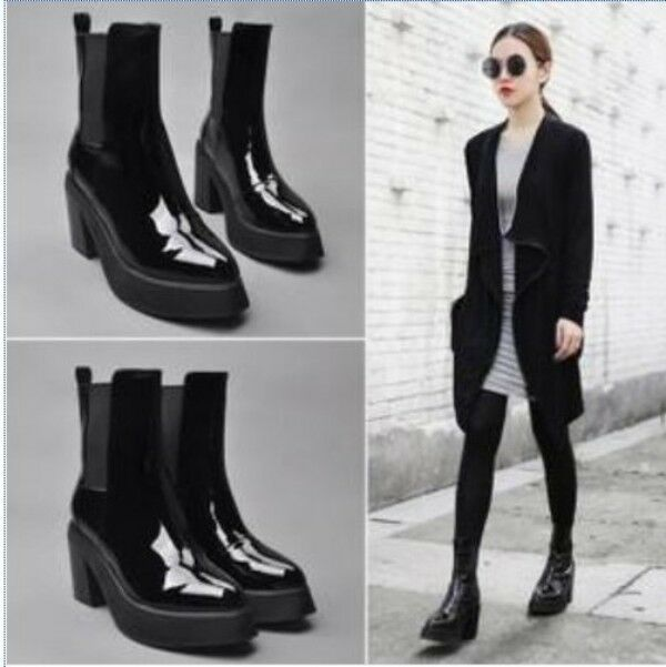 Womens Chic Real Patent Leather Stretchy Platform Block Chunky