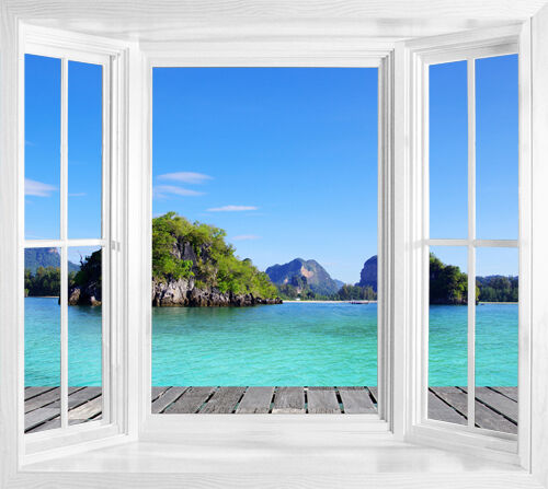 wim151 tropical thailand sea view wallpaper window frame illusion wall sticker ebay. Black Bedroom Furniture Sets. Home Design Ideas