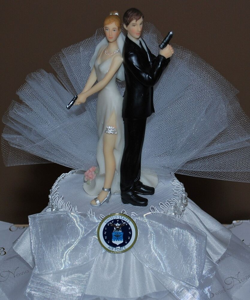 Bride Wedding Cake Topper: Super Sexy Air Force Bride And Groom With Gun Cute Funny