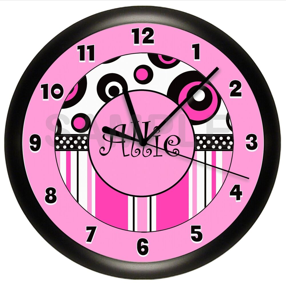 hot pink and black personalized wall clock girls bedroom
