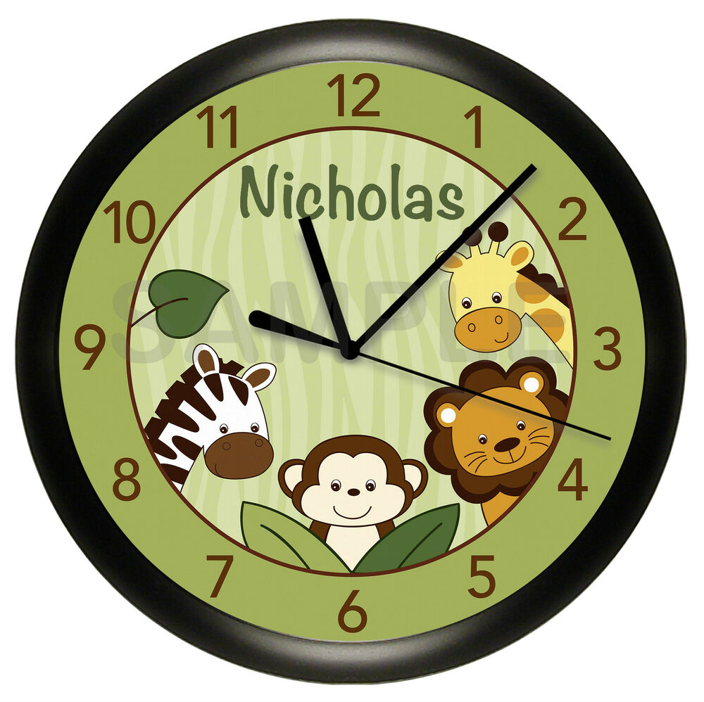 Details About Green Safari Jungle Wall Clock Nursery Personalized Monkey Giraffe Zebra Lion