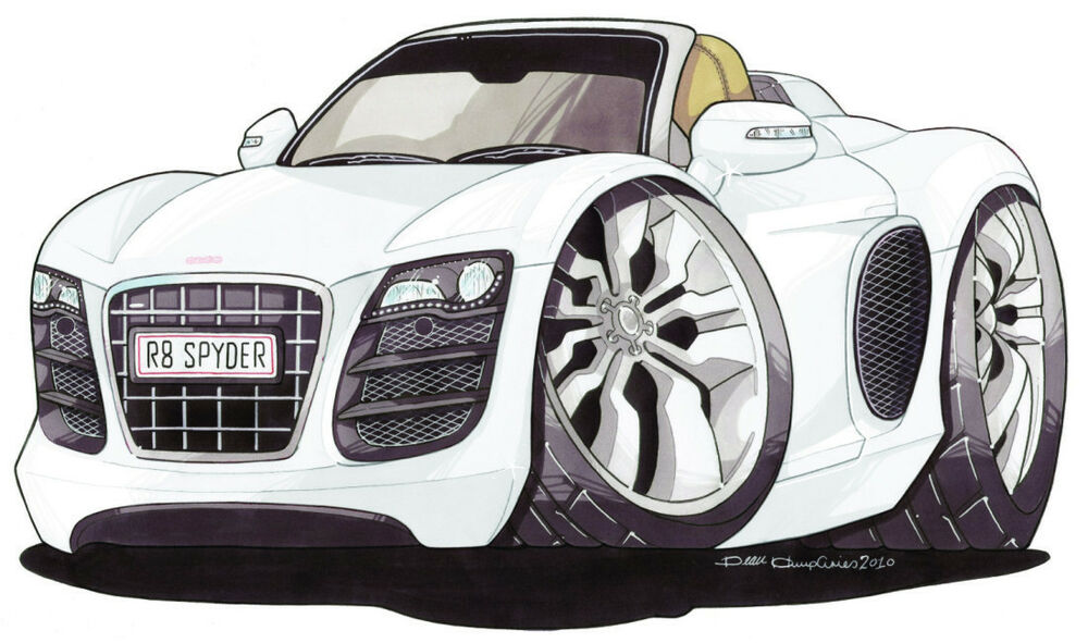 Audi R8 Spyder Printed Koolart Cartoon T Shirt 2984 White