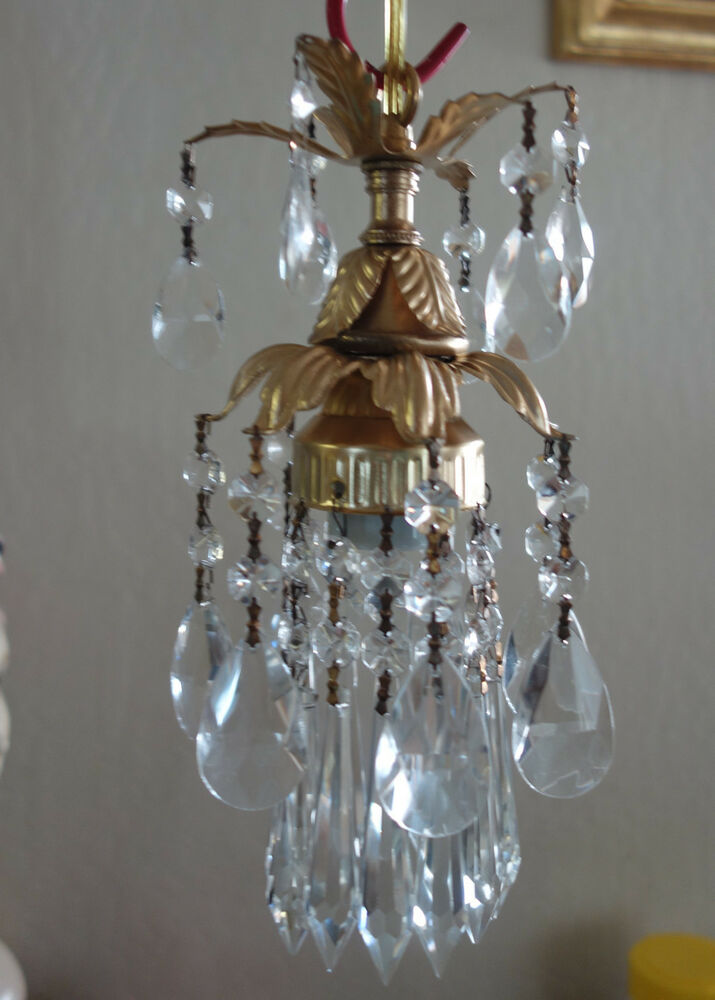 1o3 Small Hanging Lily Lamp Chandelier Crystal Prism Brass